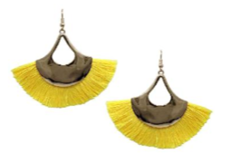 Neon Yellow Tassle Flair Earrings