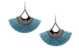 Neon Blue Tassle Flair Earrings