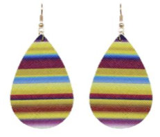 Yellow Serape Teardrop Earrings