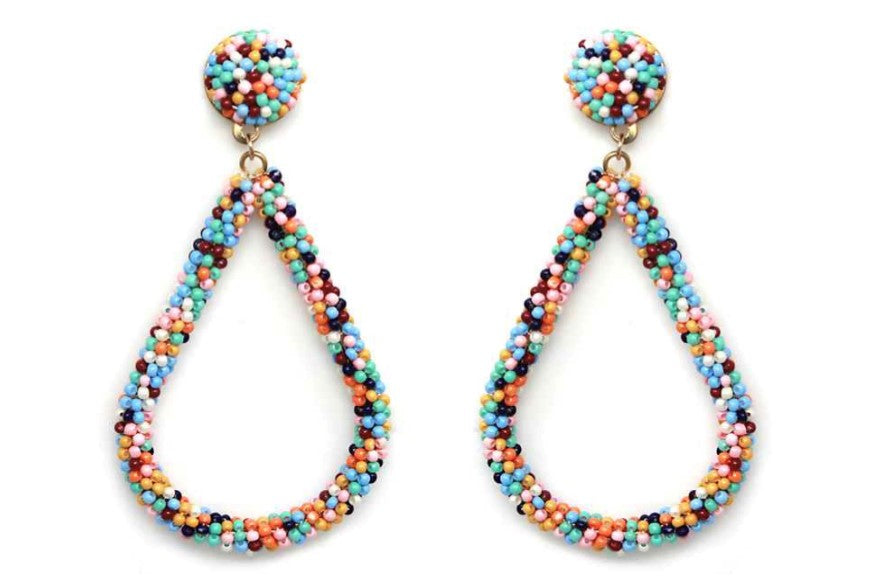 Seed Bead Multi Dangle Earrings