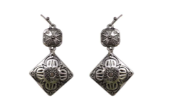 Silver Square Double Concho Earrings