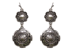 Silver Round Double Concho Earrings