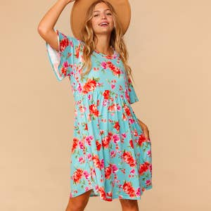 Brianna May Turquoise Baby Doll Floral Dress