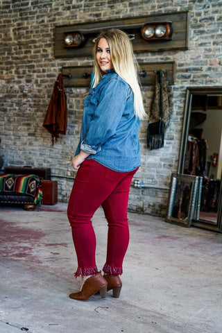 Mabel Frayed Bottom Skinny Jeans- Burgundy