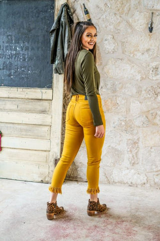 Mabel Frayed Bottom Skinny Jeans- Mustard