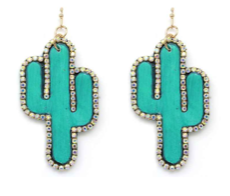 Turquoise Bling Cactus Earrings
