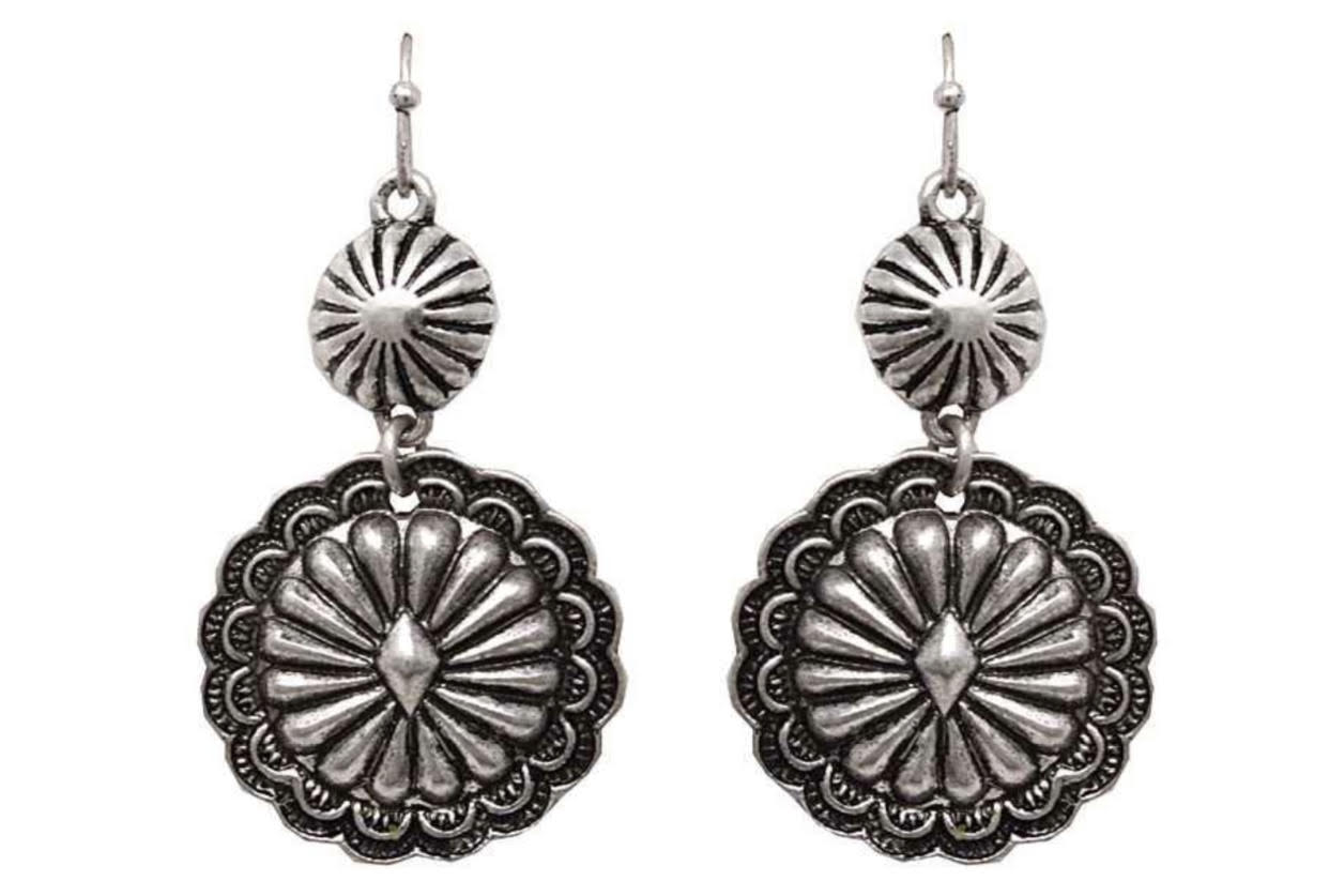 Silver Circle Double Concho Earrings