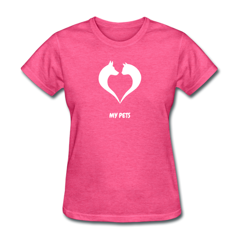 Image of Love My Pets Women's T-Shirt - heather pink