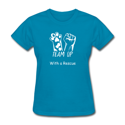 Team Up with a Rescue Women's T-Shirt - turquoise