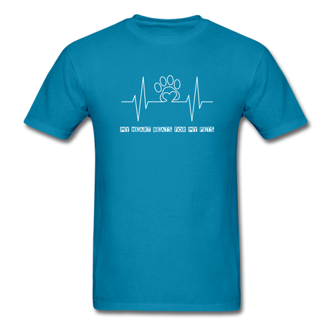 Image of My Heart Beats for my Pets Men's T-Shirt - turquoise