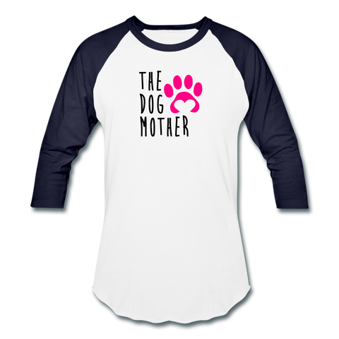 Image of The Dog Mother - Baseball T-Shirt - white/navy