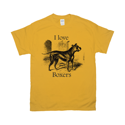 Image of I love Boxers Vintage Drawing Design on T-Shirts