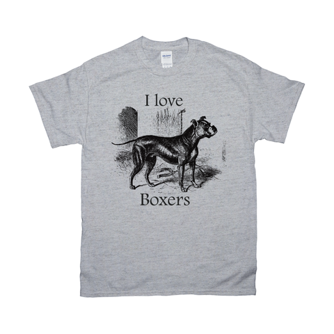 I love Boxers Vintage Drawing Design on T-Shirts