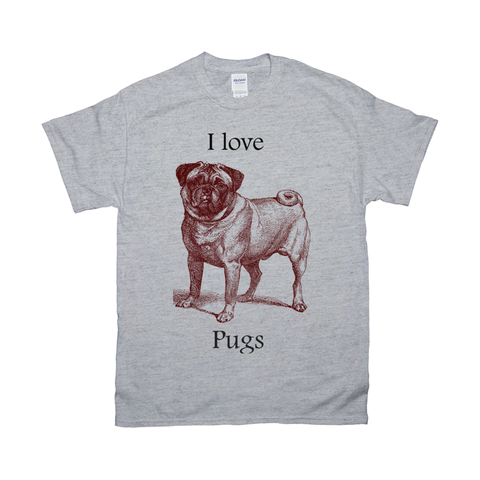 Image of I love Pugs Vintage Drawing on T-Shirts