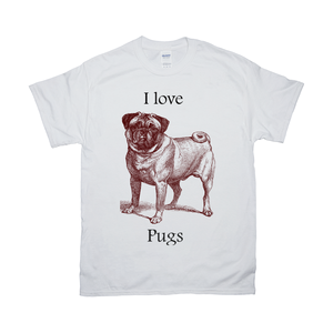 I love Pugs Vintage Drawing on T-Shirts