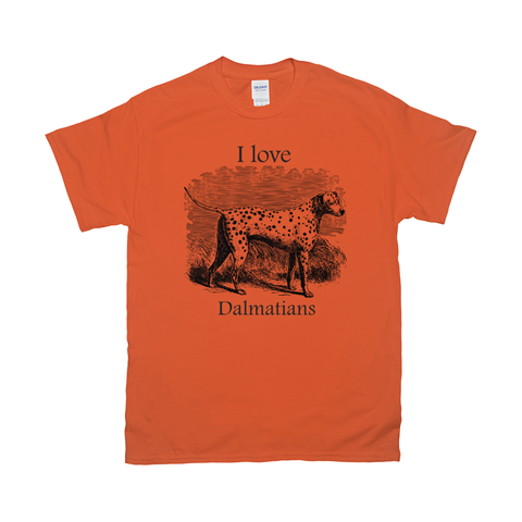 I love Dalmatians Vintage Drawing on T-Shirts
