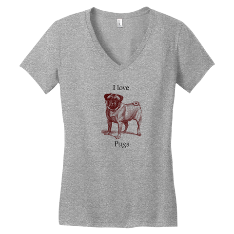 I love Pugs Women's Cotton V-Neck Tee