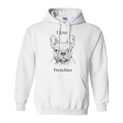 I love Frenchies Hoodies (No-Zip/Pullover)