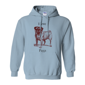 I love Pugs Hoodies (No-Zip/Pullover)