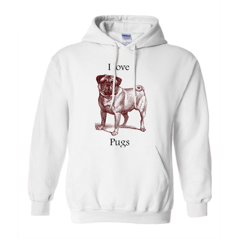 Image of I love Pugs Hoodies (No-Zip/Pullover)