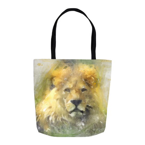 Image of Lion Water Color Drawing Tote Bags