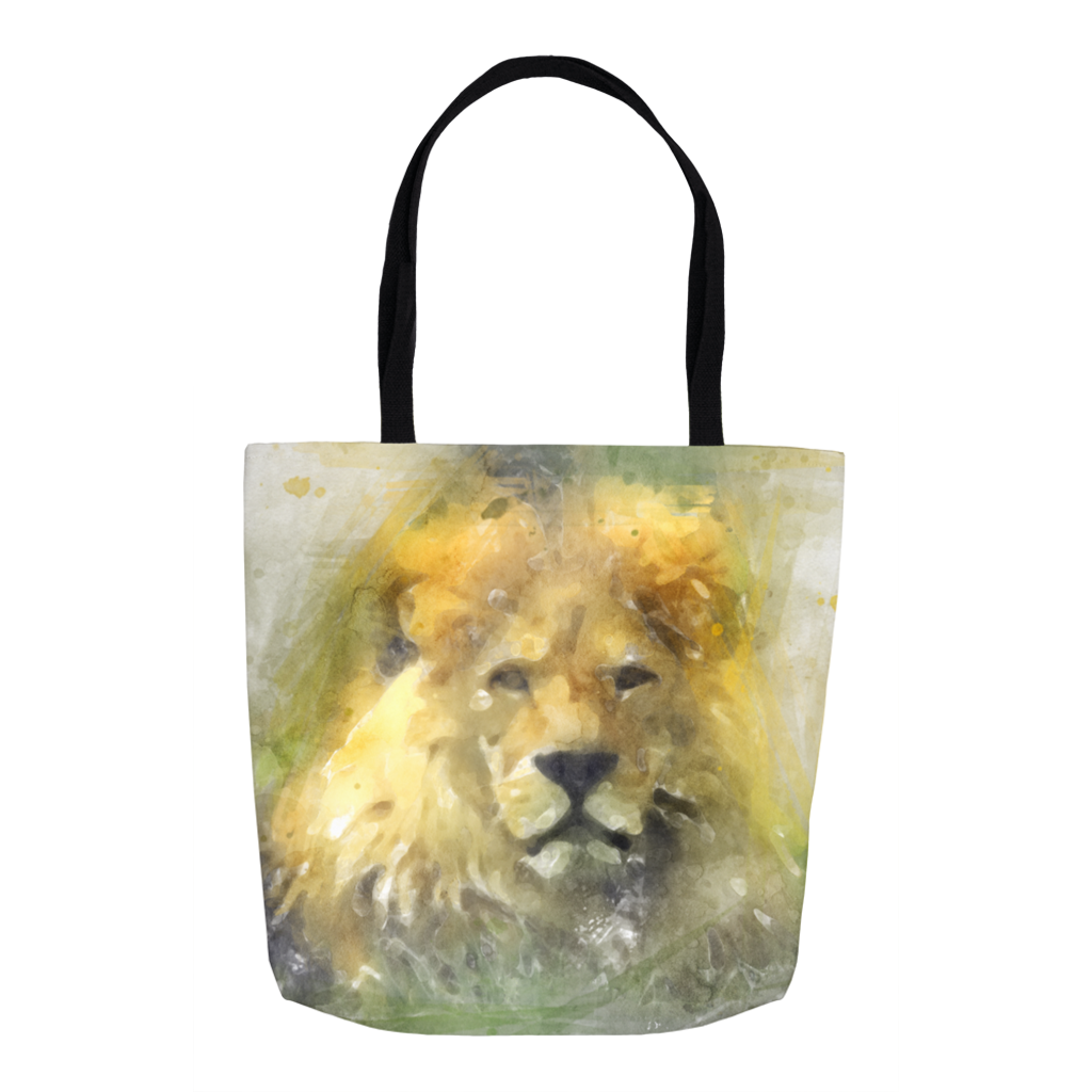 Lion Water Color Drawing Tote Bags