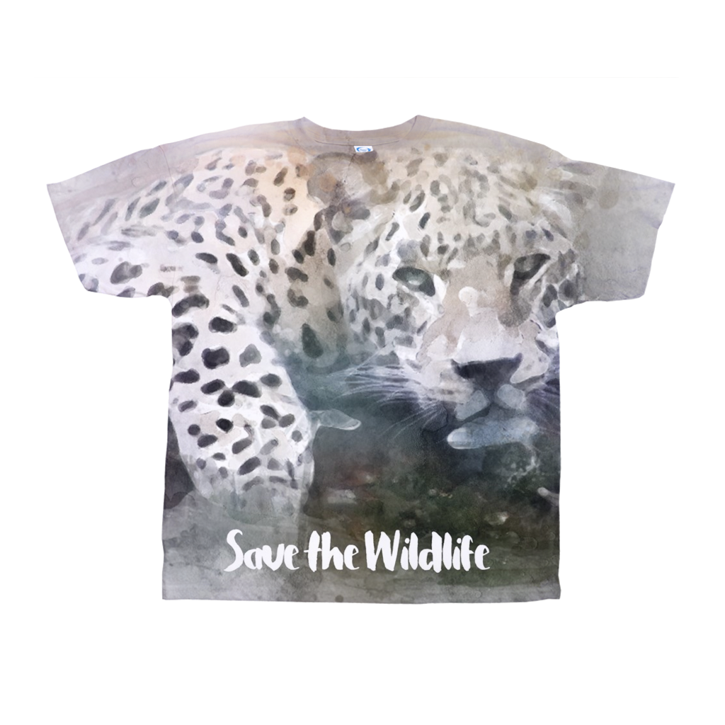 Save the Wildlife - Water Colored Leopard All-Over Print T-Shirts