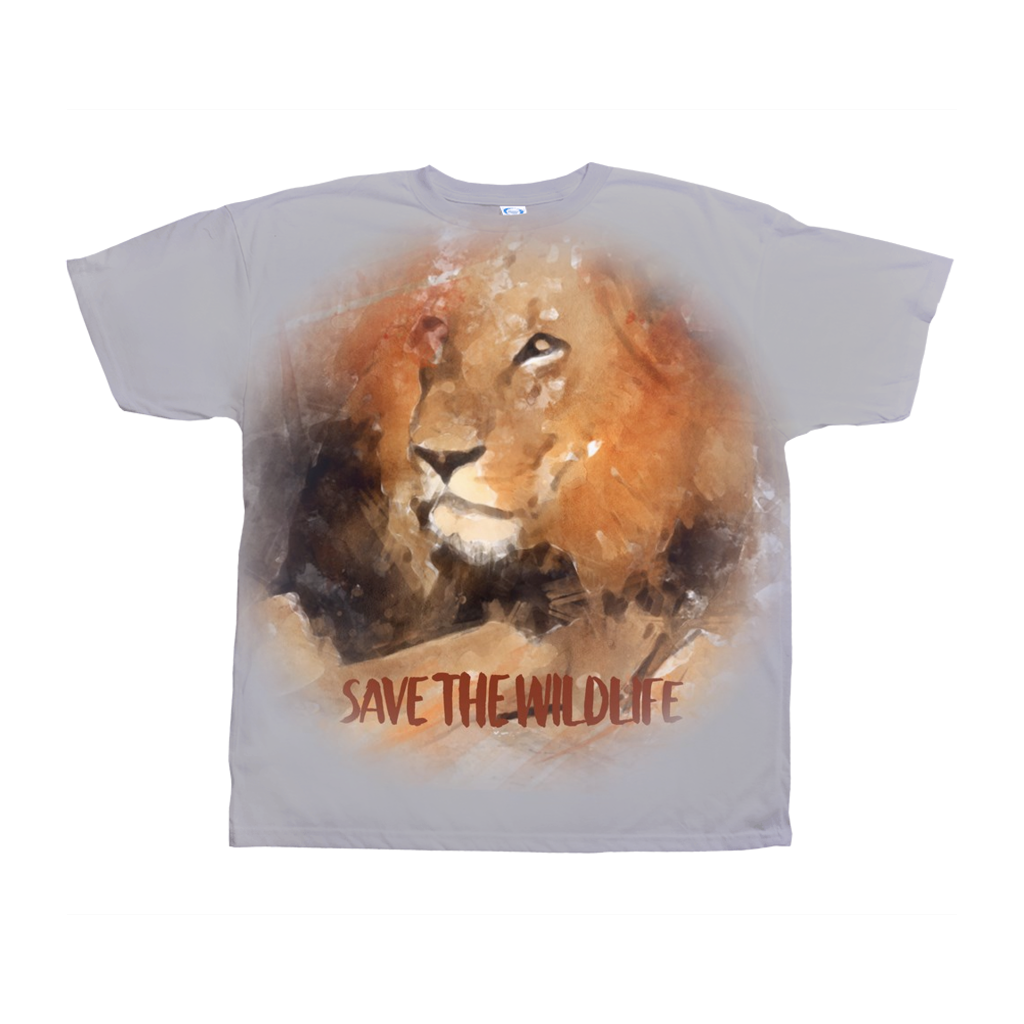 Save the Wild Life - Lion Water Color Print Shirt All-Over Print T-Shirts