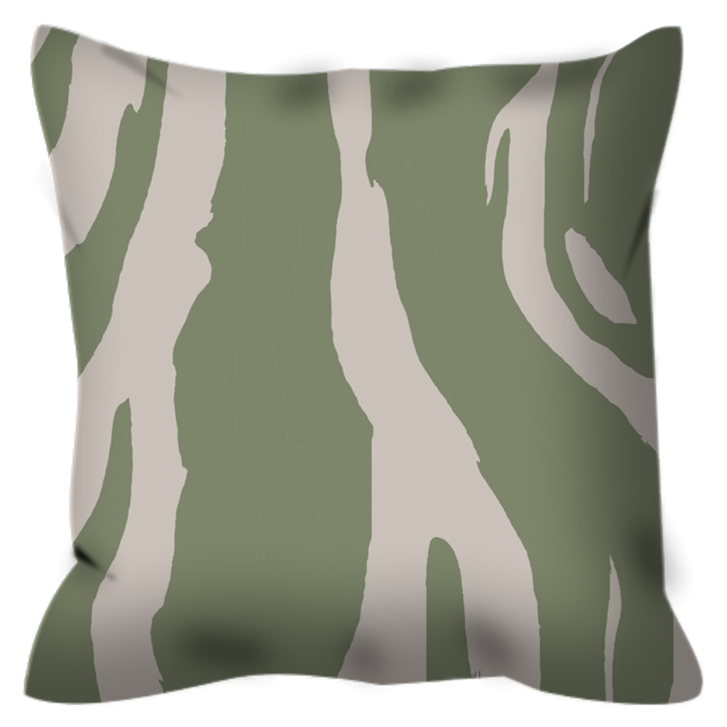 Zebra patterned Outdoor Pillows in popular Sage Green, UV treaded, water resistant, mildew proof