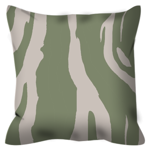 Image of Zebra patterned Outdoor Pillows in popular Sage Green, UV treaded, water resistant, mildew proof