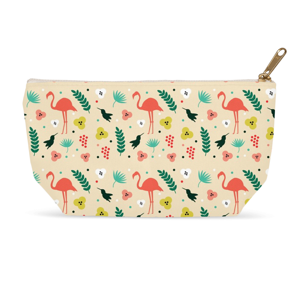 Accessory Pouches with Flamingos