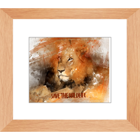 Image of Beautiful Lion Print - Digital Water Color Technique - Framed Prints - Many Sizes - Save the Wildlife