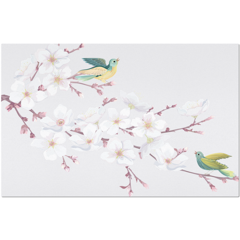 Image of Placemat with Hand drawn Cherry Blossom and Bird Design