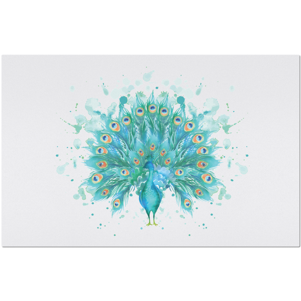 Placemat with Watercolor Peacock Design