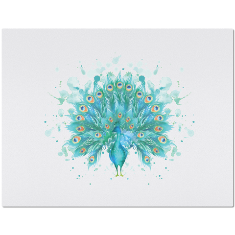Image of Placemat with Watercolor Peacock Design