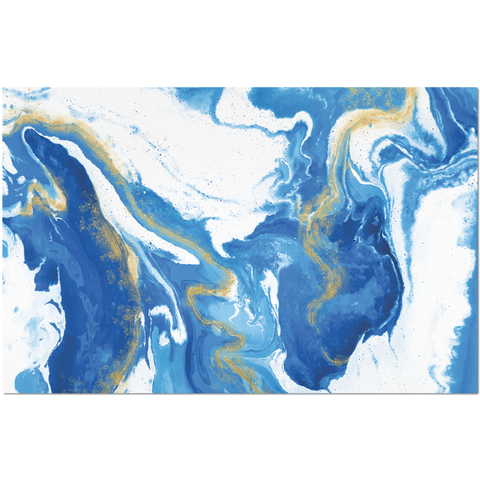Placemat with Blue and Gold Marble Print