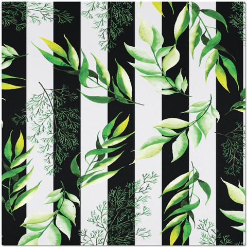 Placemat with Watercolor Leaves and Black Stripes