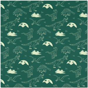 Placemat with Hand Drawn Dinosaurs on Green Background
