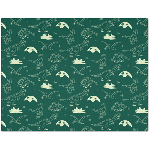 Image of Placemat with Hand Drawn Dinosaurs on Green Background