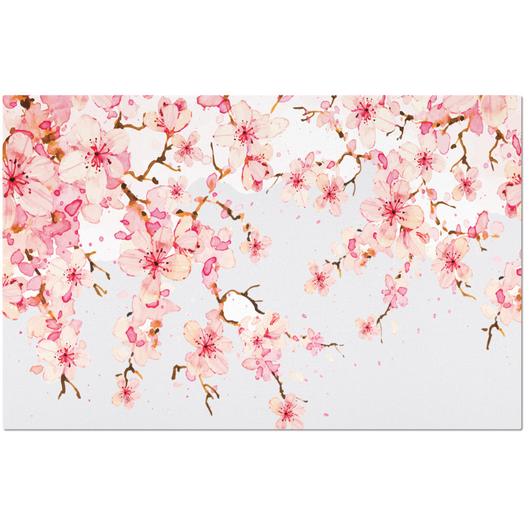 Placemat with Watercolor Cherry Blossom Design