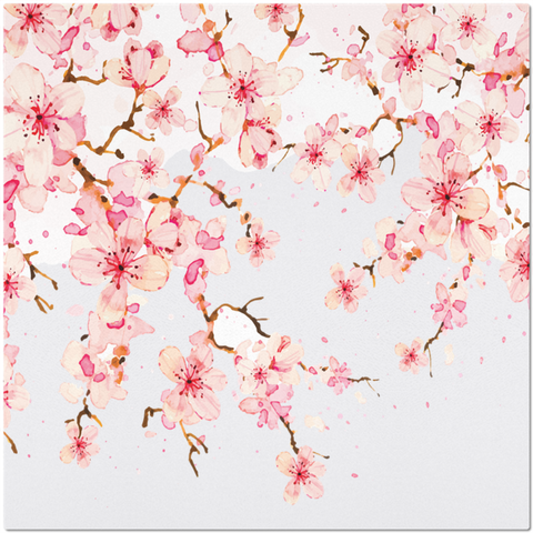 Image of Placemat with Watercolor Cherry Blossom Design