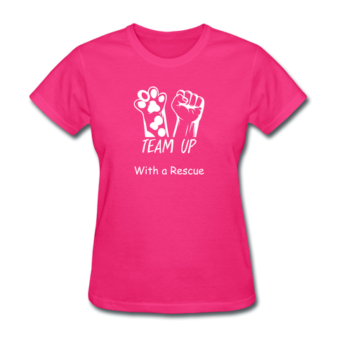Team Up with a Rescue Women's T-Shirt - fuchsia