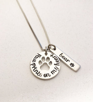 Pet loss - Hand stamped necklace - Pet memorial -