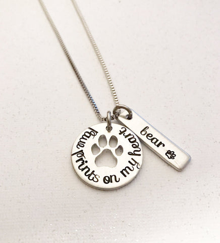 "Pet loss - Hand stamped necklace - Pet memorial - ""Paw prints on my heart"""