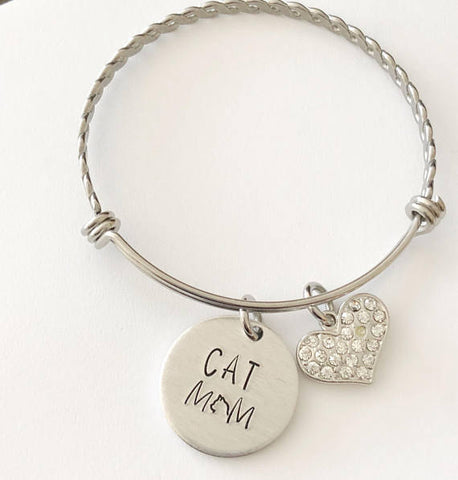 Image of Cat mom - Hand stamped bracelet - Cat mom jewelry