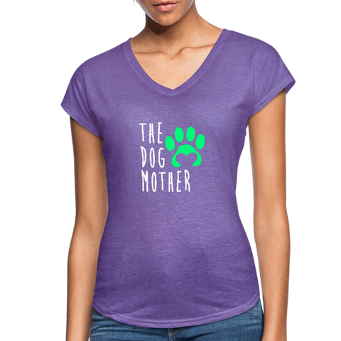 Image of The Dog Mother - Women's Tri-Blend V-Neck T-Shirt - purple heather