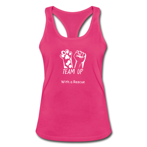 Team Up with a Rescue - Women's Racerback Tank Top - hot pink