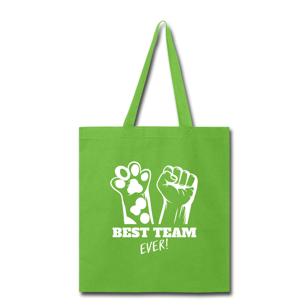 Best Team Ever Tote Bag - lime green