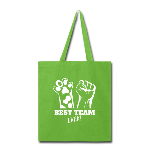 Image of Best Team Ever Tote Bag - lime green