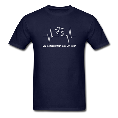 Image of My Heart Beats for my Pets Men's T-Shirt - navy